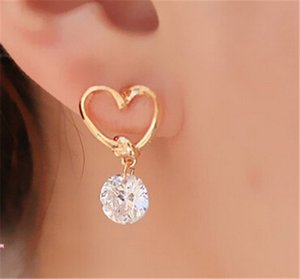 Design New hot Fashion Popular Luxury Crystal Zircon Stud Heart Earrings Elegant earrings jewelry for women on Sale