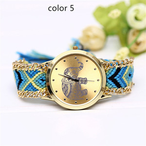 Wholesale Handmade Braided Friendship Bracelet Women Watch New Hand Woven wristwatch Ladies Quarzt Watch women dress Elephant watches