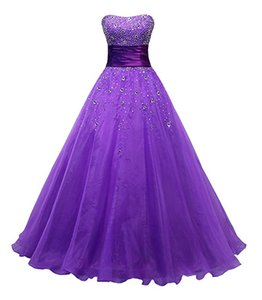 Celebrity Evening Dresses Abendkleider Meerjungfrau 2017 Purple Organza Ball Gown Prom Dresses Cheap Long Party Gowns on Sale