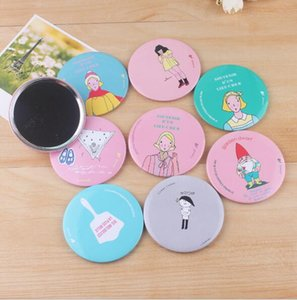 Wholesale Eco Friendly Random Color Mini Compact Mirrors Hand painted Small Portable Mirrors Assorted Patterns Cartoon Cosmetic Makeup Mirrors