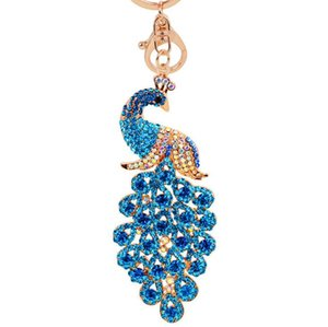 Wholesale Colorful Rhinestone Peacock Pendant Keychains Animal Keyrings Charm Jewelry For Women gift colors free ship
