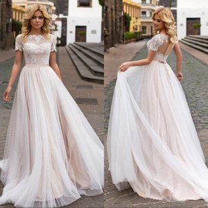 Wholesale Beach Country Wedding Dresses With Short Sleeves Tulle A Line Plus Size Vintage Bridal Gowns Custom Made Fast Shipping With Buttons Back