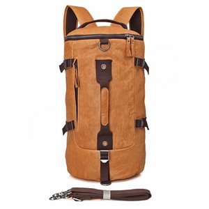 Wholesale Large Capcity Men Leather Backpack Brown yellow Outdoor Bag for Hinking and Camping with Laptop Pocket PR582003B