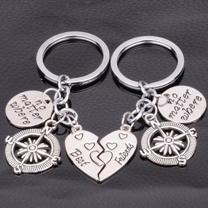 Wholesale Best friend no matter where keyring compass keychain Pendant for Mother s Day gift Heart shaped key chain letter keychain Drop Ship