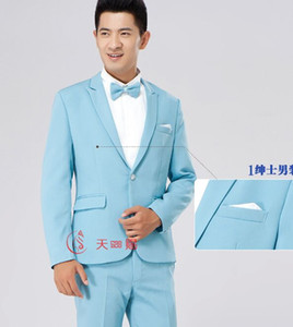 Wholesale free ship mens plain light blue beige wine red black grey tuxedo suit event stage performance jacket with trousers