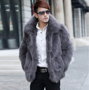 Wholesale ot sell warm faux fox fur coat mens leather jacket men coats Villus autumn winter thermal Single breasted men clothes big size XL