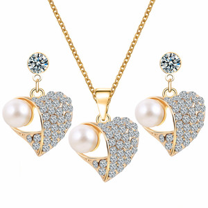 Wholesale Top Quality Austria Zircon Alloy Necklace Earrings Jewelry Set Beaded Pendant Stud Earrings Gold Plated Jewelry Set Women Girls Gifts