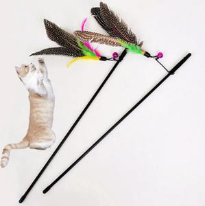 Wholesale 500Pcs Colorful Multi Pet Cat Toys Cute Design Bird Feather Teaser Wand Plastic Pet Toys Products For Cat Toy CSV Drop Shipping