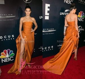 Kendall Jenner Sexy Golden Yellow Slit Prom Evening Dresses Golden Globes After Party 2019 A-Line Strapless Formal Celebrity Gowns