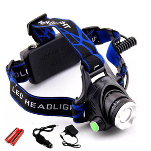 Wholesale 18650 Headlight Led Headlamp XM L T6 Zoom Rechargeable light Waterproof LM He Battery Headlight Flashlight Lantern night fishing