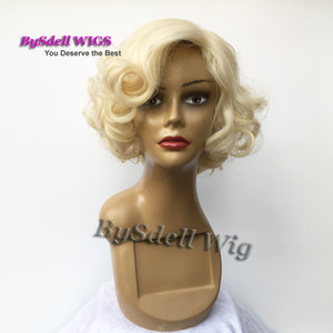 Wholesale Wigiss Female Marilyn Monroe Cosplay Wig Young Glamorours light blonde color Short wavy Party Wigs Kanekalon Synthetic custome Wigs