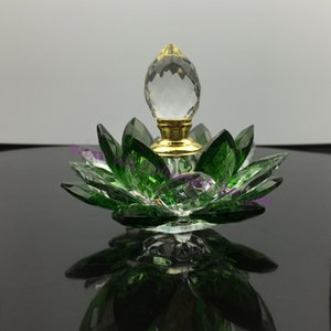 Wholesale crafts Ornaments decoration Hand Hammered crystal glass lotus flower perfume bottle,arttar oil scent empty glass bottle