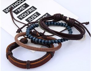 In 2017, the new European and American popular men's jewelry, hand woven genuine leather set Bracelet
