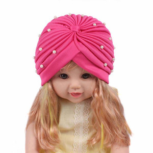 Cheap New fashion girls Soft Cute beaded pearl Headbands baby children Cute Turban hat Indian Caps
