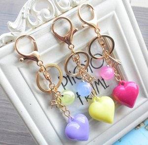 Wholesale Candy color heart shaped key ring acrylic small gift pendant Paris Eiffel Tower ornaments KR336 Keychains mix order pieces a