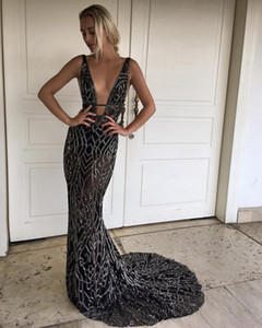 Wholesale Black Full Bead Mermaid Evening Gowns Sheer V Neck Prom Dress Long Cutaway Sides Party Dresses