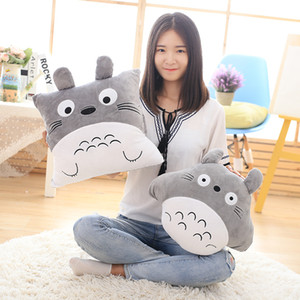 Cartoon totoro air conditioning blanket inserted hand pillow quilt cushion plush toy blankets in car Valentine's Christmas gift