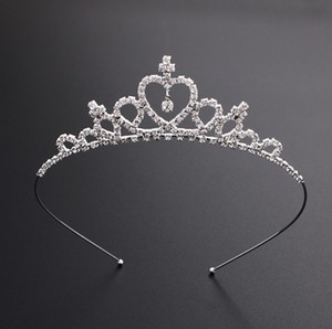 Kids Women Girls Hairpin Princess Crown Silver Crystal Hair Hoop Jewelry Bridal Tiara Party Pageant Diamond Tiara Headband Hair Accessories