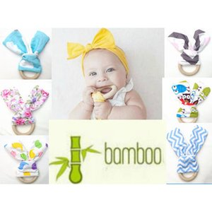 INS Handmade Baby Teethers 60 Colors Chevron Zigzag Natural Wood Circle With Rabbit Ear Fabric Newborn Teeth Practice Toys Training Ring