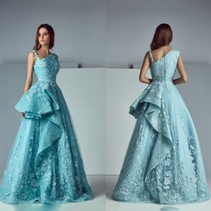 Saiid Kobeisy Light Blue Dresses Evening Wear 3D Floral Appliqued Lace Formal Prom Gowns Vintage Tiered Party Dress on Sale