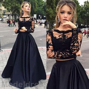 New Two Pieces Lace Party Dresses Sheer Neckline Long Sleeves Appliques Long Satin Black Evening Party Dress Special Occasions Gowns Cheap on Sale