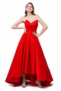 Wholesale Red Stock Vintage s Hi Lo Red Party Prom Dresses Formal Bridesmaid Gown Formal Evening Gowns QC196