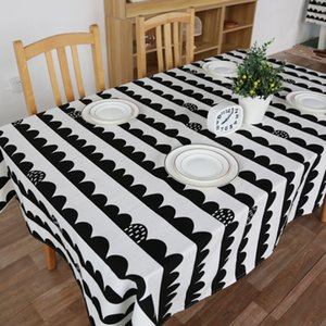 Wholesale Factory direct Scandinavian black and white simple cotton and linen tablecloths coffee tablecloth tablecloths decorated cloth