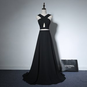Wholesale Criss Cross Chiffon Pieces Prom Dress Black Elegant Long Formal Dresses New Party Dress