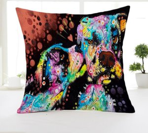 Wholesale Halloween Christmas American Cartoon Dog Printed Pillowcase Creative Hand Painted Cushion Decorative Pillow Cushion Throw Pillow case