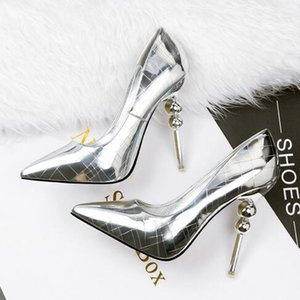 Wholesale Newest Metal Mirror Sexy Stiletto Heels Party Shoes For Ladies 5 Colors Summer Fashion Wedding Bridal Shoes Pointed Toe Shoes Free Shipping