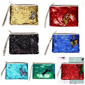 Wholesale Sequins Mermaid Makeup Bags Girls Glitter Purses Storage Bag Envelope Handbag Fashion Travel Cosmetic Bags Party Banquet Bags Pouch LD05
