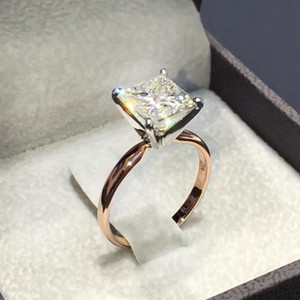 Wholesale 1 New Gold Color Square Shape Ring Princess Cut Stamp For Women Pave Zircon Stone Wedding Jewelry Inlaid Rings