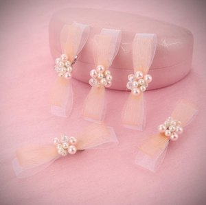 Wholesale Pearl bow tie hairpin bridal crystal head white wedding dress accessories