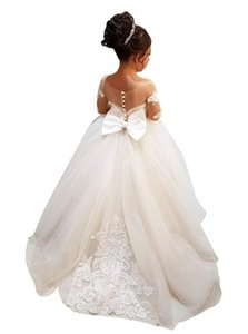 Wholesale Cheap Flower Girls Dresses Tulle Lace Top Spaghetti Formal Kids Wear For Party Free Shipping Toddler Gowns