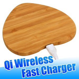 Wholesale Bamboo Wood Wireless Charger Pad Qi Fast Charging Pads for iPhone Pro Xs Max Samsung Note Plus with Retail Package izeso