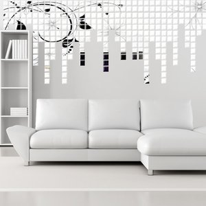 Wholesale 3D Wall Sticker Mosaic Mirror Square Mirror Wall 2*2 CM Sofa Living Room Decoration WHOLESALE Free shipping