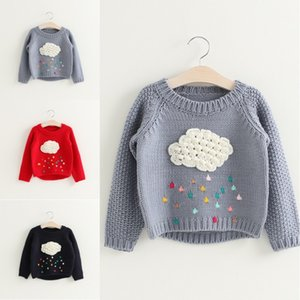 cartoon baby girls cloud raindrops sweater long sleeve warm kids children clothes pullover knitwear spring autumn on Sale