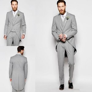 Wholesale Silver Notched Lapel Groom Suits Tail Coat Three Pockets Groom Tuxedos One Buttons Hot Best Man Suits Blazer Jacket Pants Vest