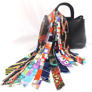 Wholesale Women Faux Silk Scarf Fashion Design Print Head band Small Tie Bag Ribbons Stripe Neck Scarves Popular