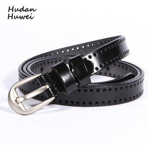 Classic Genuine Leather Skinny Women Belts for Dress Fashion Hollow Out Pin Buckle Lady Belt Body Fit Waistband for Female