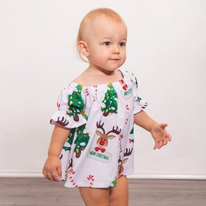 Wholesale Baby Christmas Dress Reindeer Candy Printed Flare Sleeve Tree Newborn Baby Girl Designer Clothes Merry Christmas Skirts Ruffle Frills M