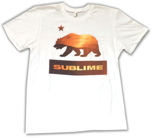 Wholesale Sublime Bear California Sunset Image White T Shirt New Official Soft T Shirt Men Man s Unique Short Sleeve Thanksgiving Day Custom XL Team