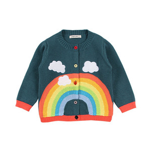 Wholesale new spring baby girls rainbow clouds sweater kids clothing knitting cardigan long sleeve children tops jackets