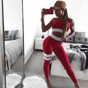 Wholesale Women's Fitness Suits Cropped Tank Workout Bra Top And Legging Pants 2 Pieces Set Fashion Female Red Striped Sexy Tracksuit