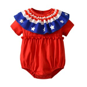 Wholesale Baby Girls Short Romper Striped Stars American Independence Day Jumpsuit Overalls Toddler Infant th Of July Summer Outfits Drop shipping