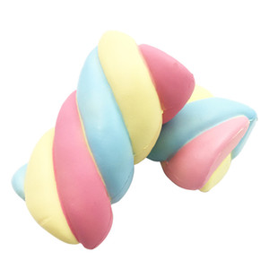 Wholesale Kawaii Cute Jumbo Squishy Slow Rising Rainbow Cotton Candy Kid Toy Squeeze Pressure Relief Soft Bread Cake Fun Toy