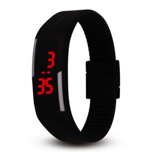 Wholesale NEW fashion candy color watch colors Silicone jelly watch Unisex Sports LED watches Men s Women s kids Touch Digital Wrist Watch child