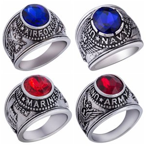 Wholesale Size United States Army Navy Airforce Marines Venteran Ring Retro Vintage USMC Memorial War Battle Blue Red Stone