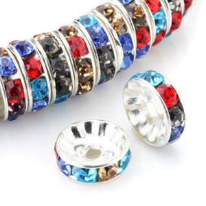 100Pcs Rhinestone Rondelle Spacer Beads 8 mm Round Metal Silver Tone Czech Crystal Charm Loose Beads for Jewelry Making 19 Colors