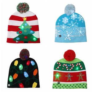 Wholesale Christmas LED Knitted Hat Snowflake Christmas Tree Beanies Cap Light Up Hip Hop Hats for Adults and Kids
